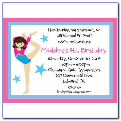 Gymnastics Birthday Party Invitation Templates