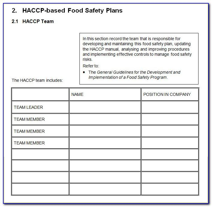 Haccp Food Safety Plan Template