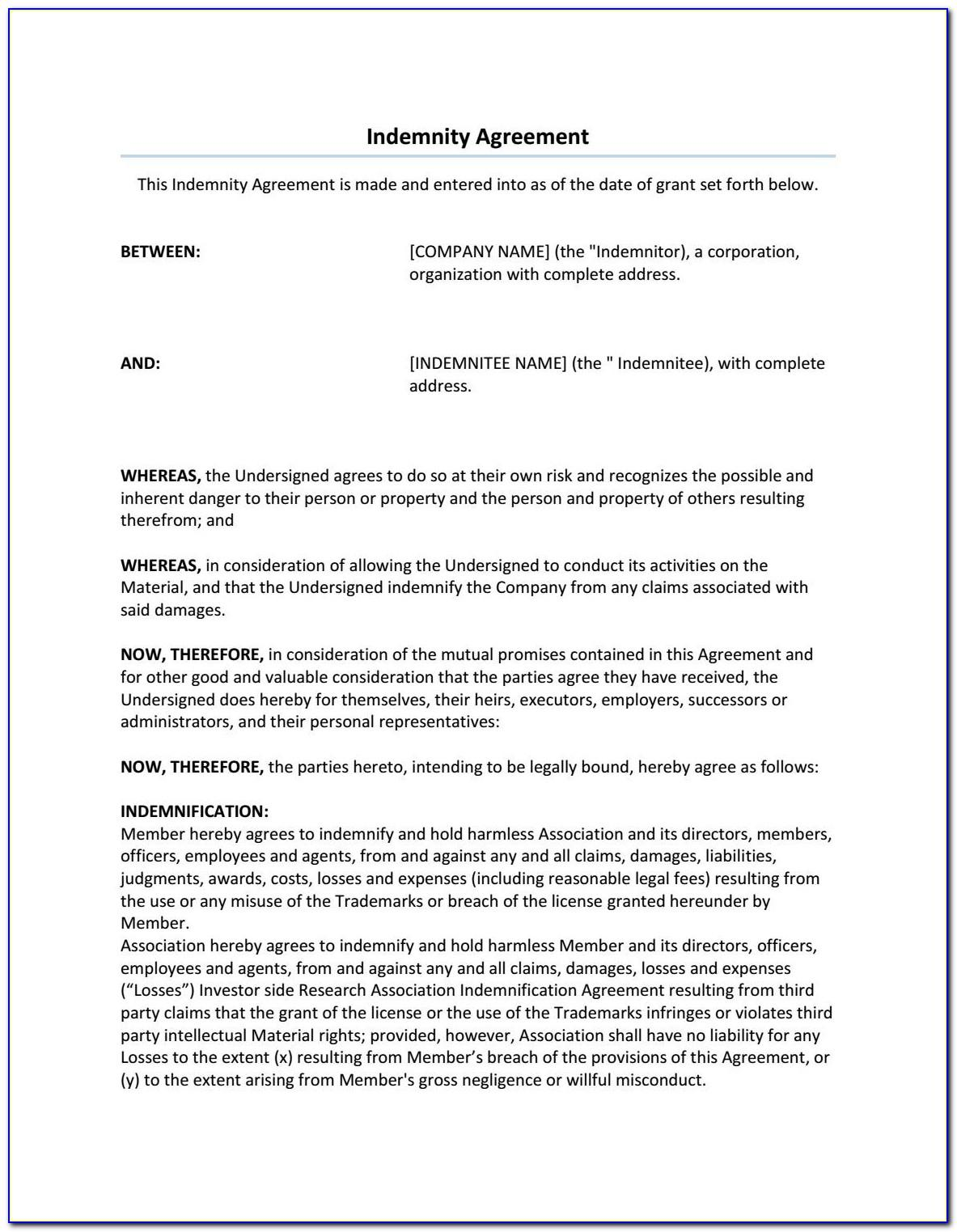 Hold Harmless Indemnification Agreement Template