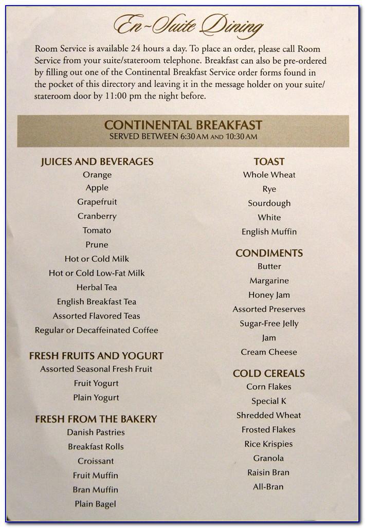 Hotel Room Service Breakfast Menu Template