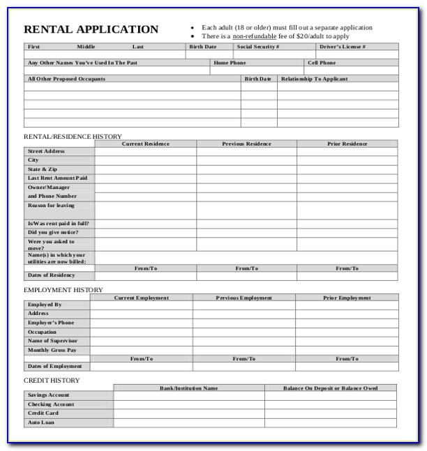 House Rental Application Template Word