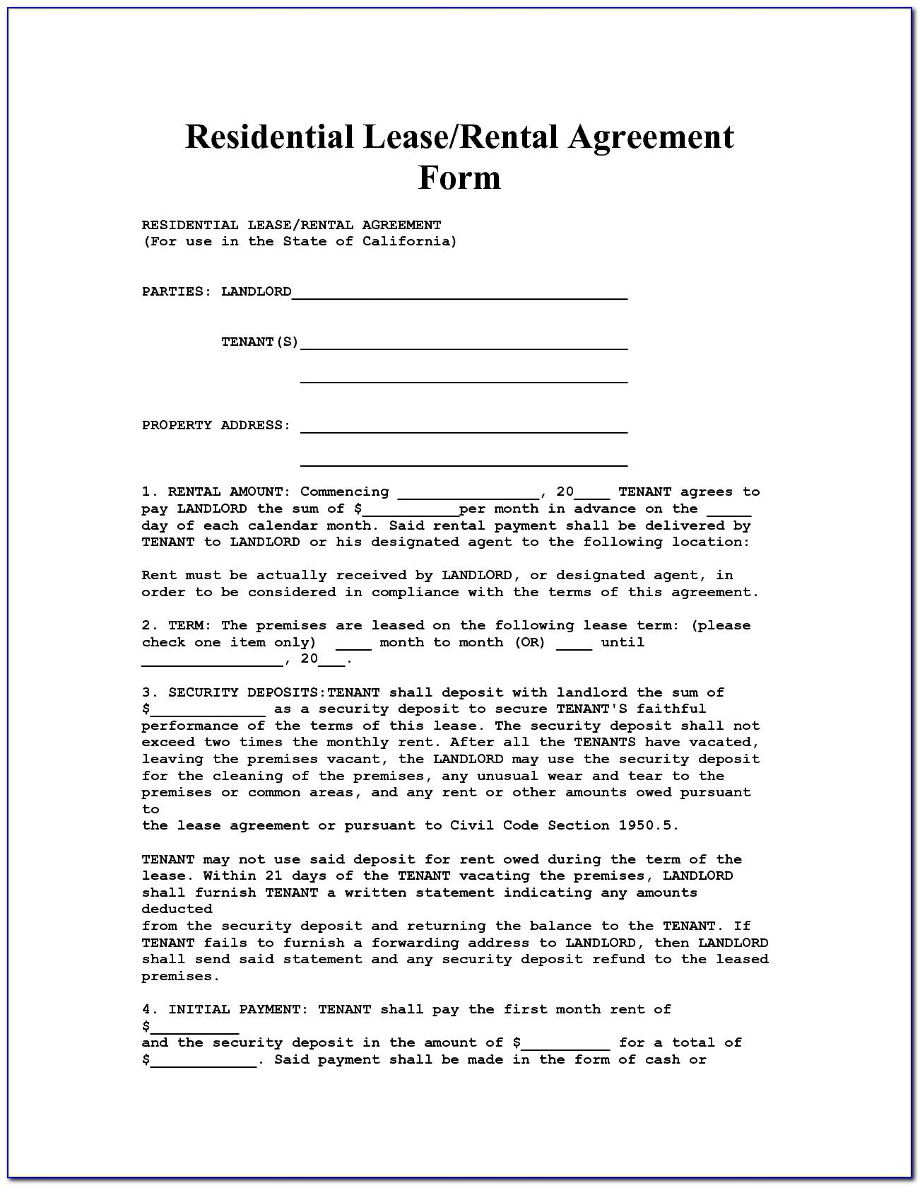Housemate Agreement Form