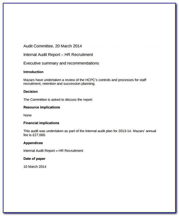 Hr Audit Report Example