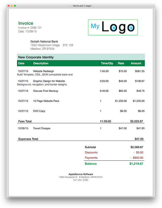 Html Invoice Templates Free Download
