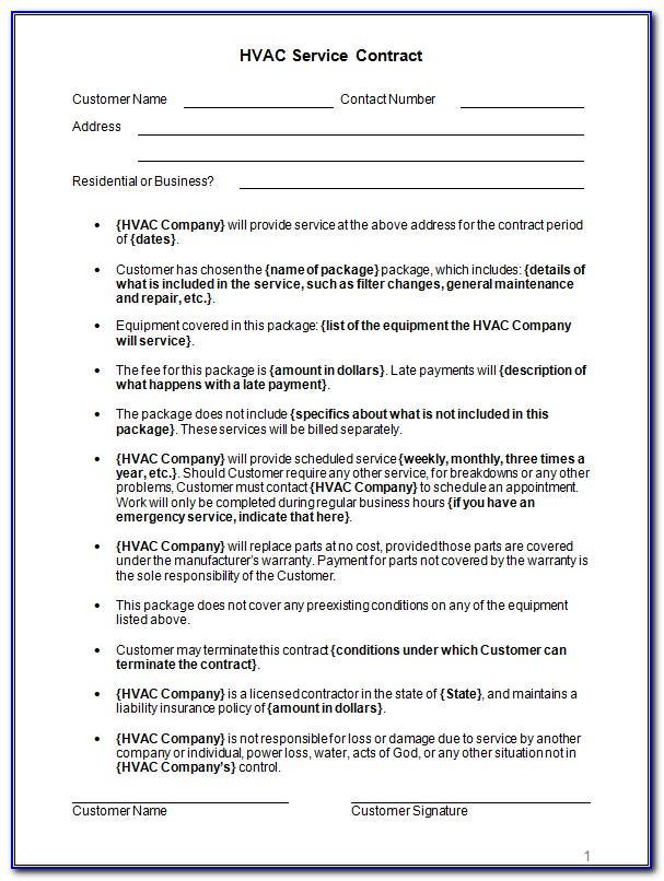 Hvac Service Agreement Forms