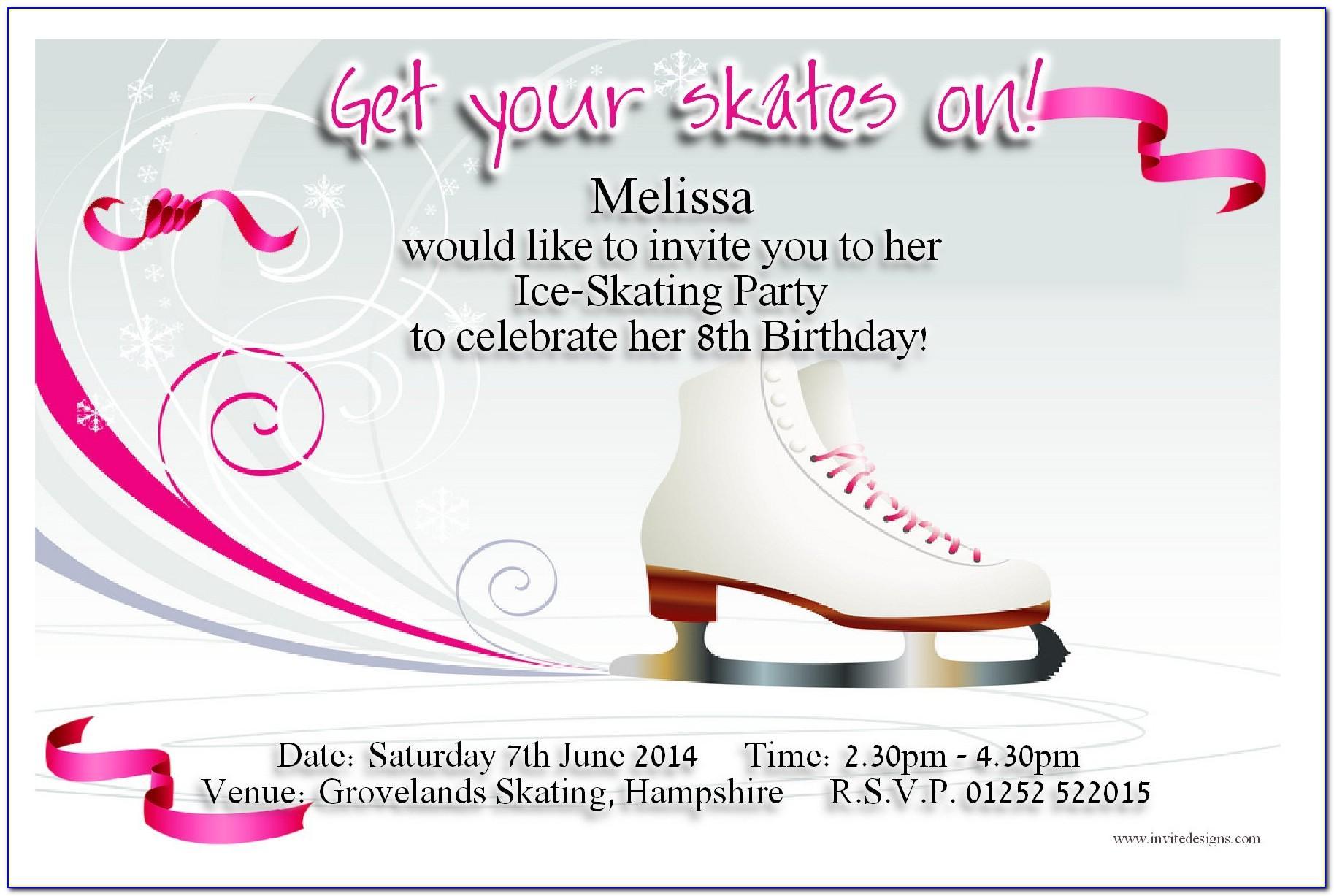 Ice Skating Birthday Party Invitation Template