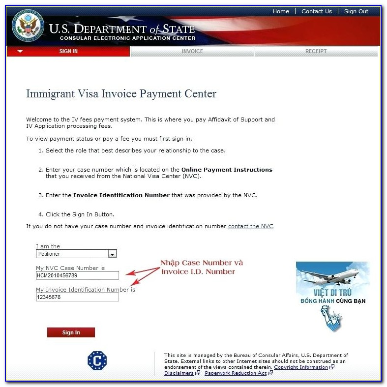 Immigrant Visa Invoice Payment Center Page