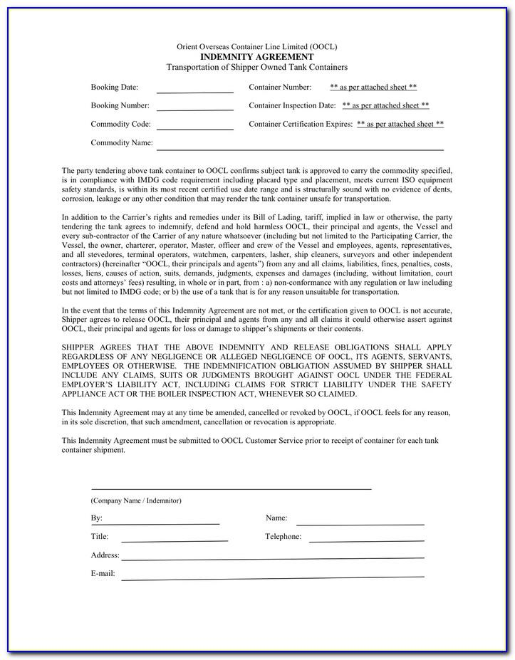Indemnification Agreement Form