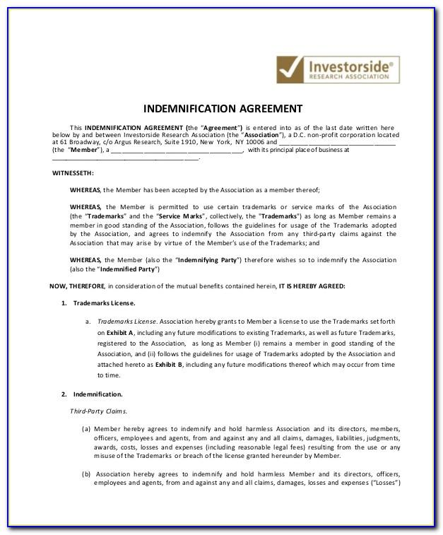 Indemnification Agreement Template
