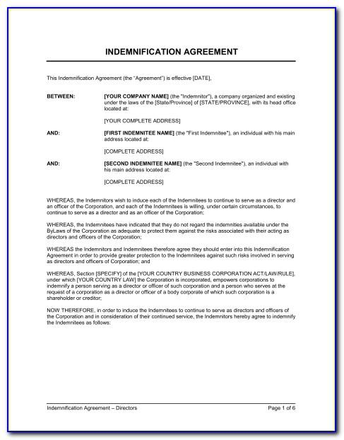 Indemnity Agreement Template Uk