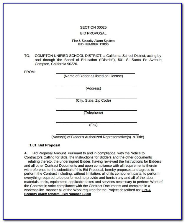 Independent Contractor Proposal Sample Free