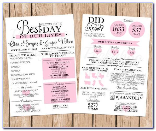 Infographic Wedding Program Template Free
