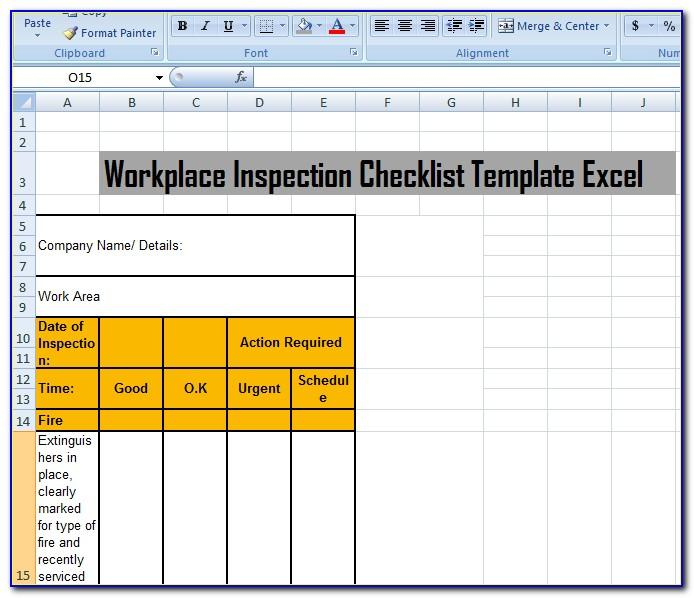 Inspection Report Template Excel