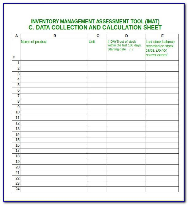Inventory Sample Sheets Excel