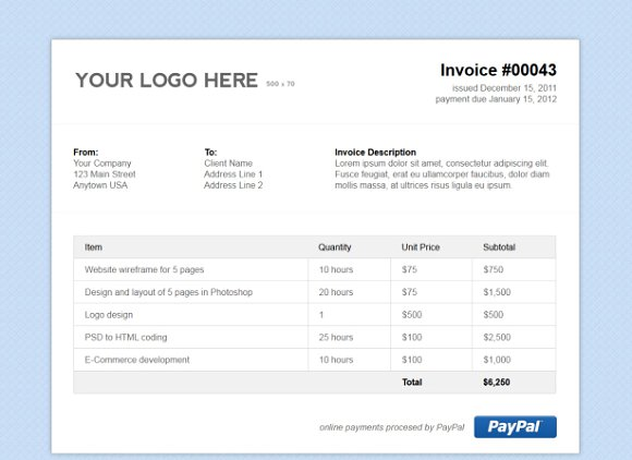 Invoice Email Template Html Free Download