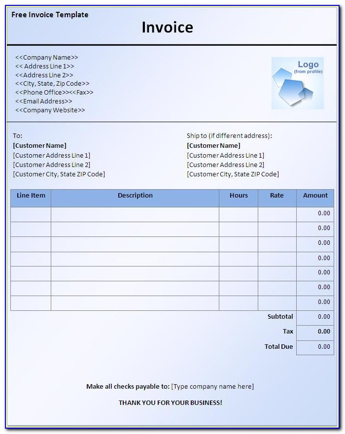 Invoice Format In Word For Services