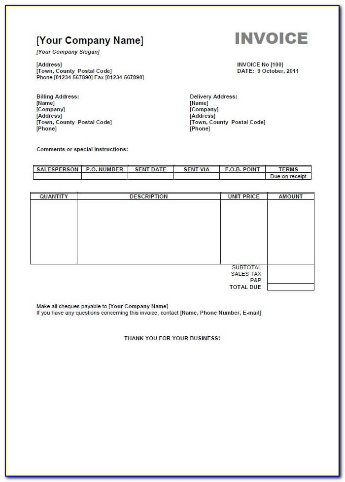 Invoice Format In Word Free Download
