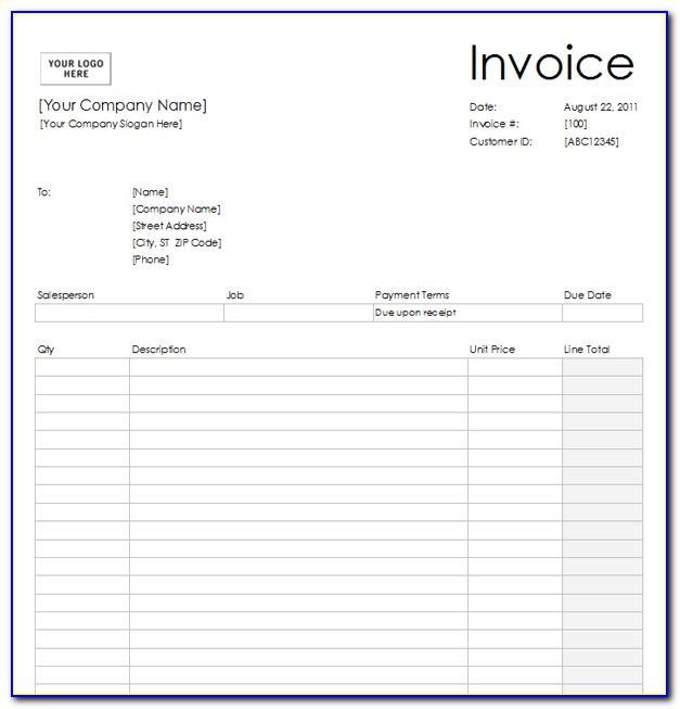 Invoice Printable Template Word