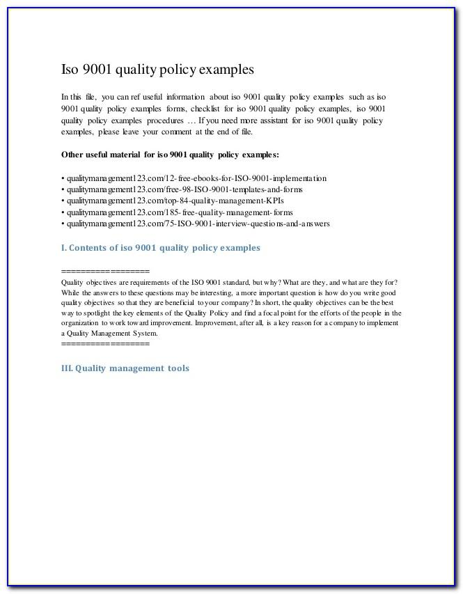 Iso 9001 Quality Policy Examples