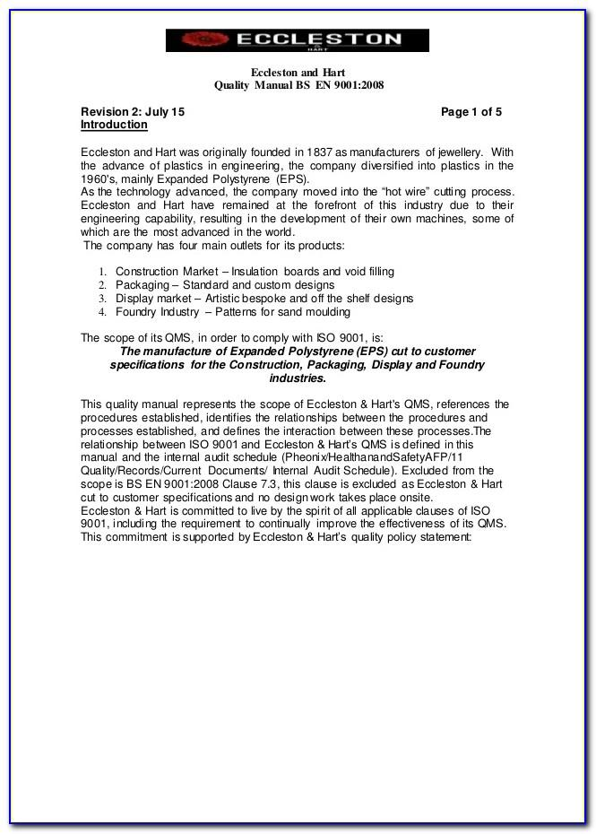 Iso 9001 Quality Policy Samples