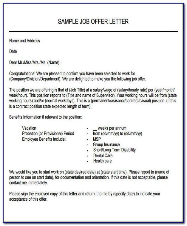 Job Letter Template Pdf