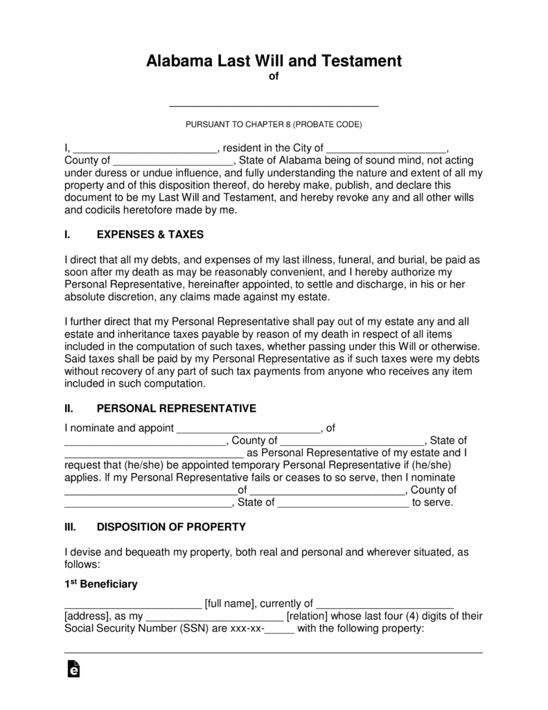 Last Will And Testament Template Alabama