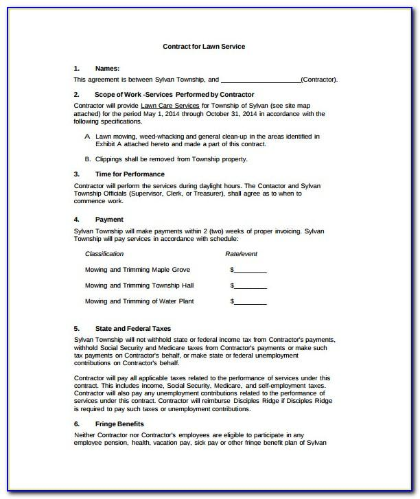 Lawn Care Contract Template
