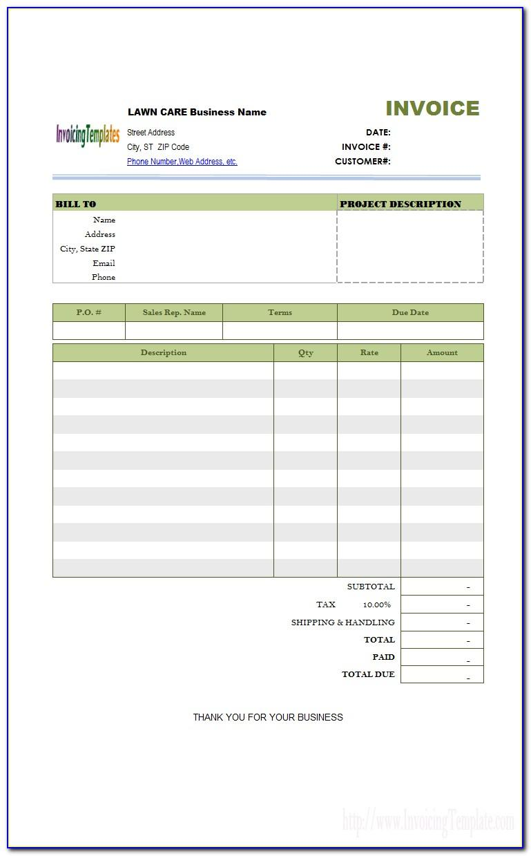 Lawn Care Invoice Form Pdf