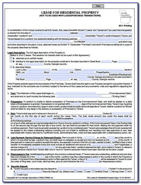 Lease Agreement Template Free Ga