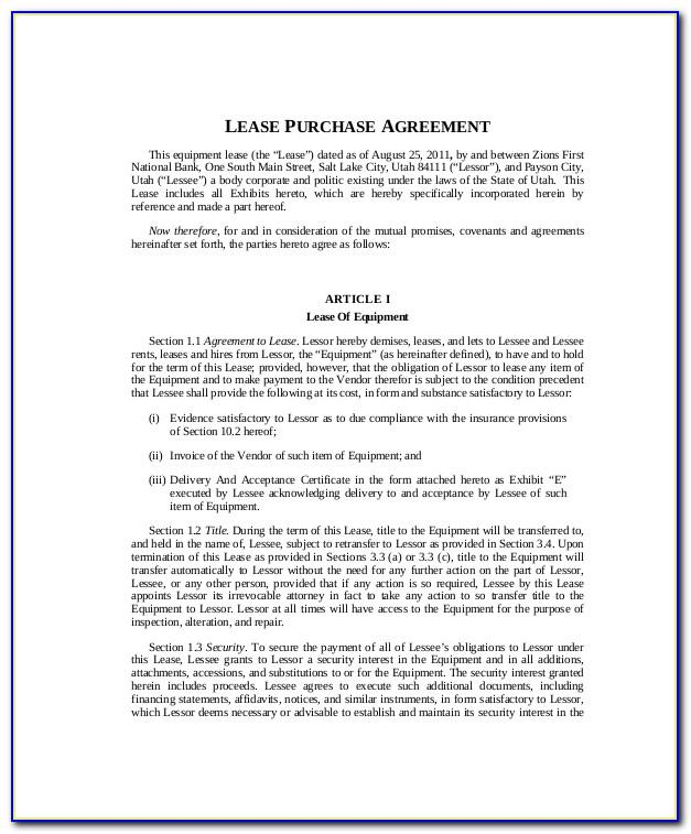 Lease Purchase Contract Sample