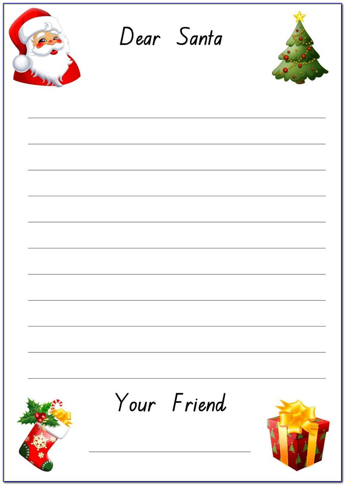 Letter To Santa Writing Paper Template