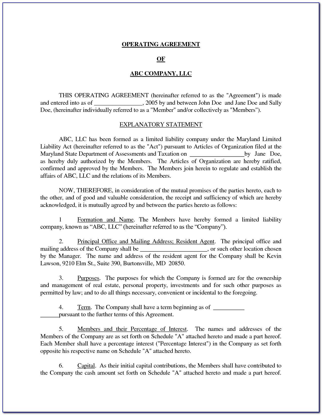 Llc Member Separation Agreement Template