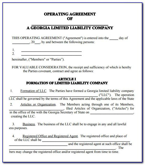 Llc Operating Agreement Form Download