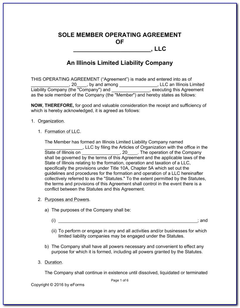Llc Operating Agreement Illinois Template