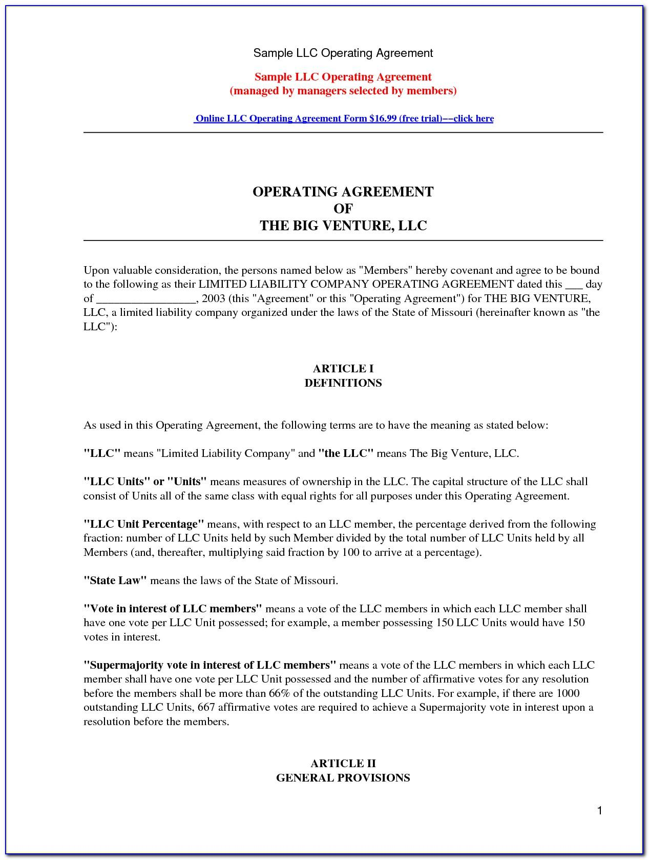 Llc Separation Agreement Template