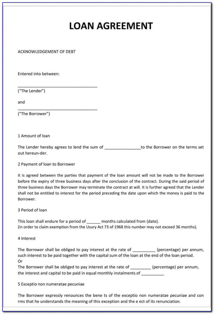 Loan Contracts Templates