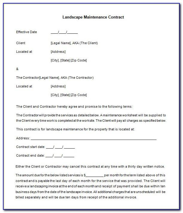 Maintenance Contract Template Free