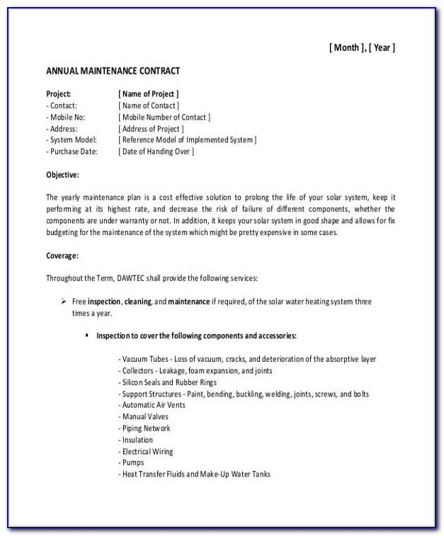 Maintenance Contract Template Word Simple