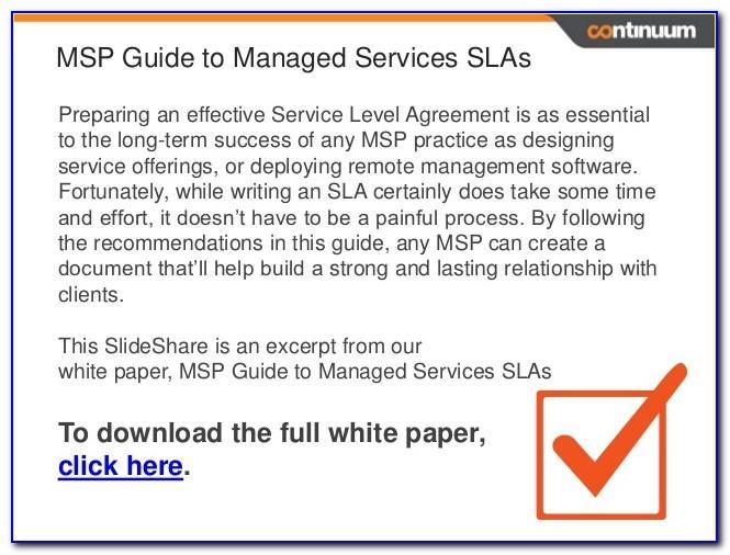 Managed Service Sla Example