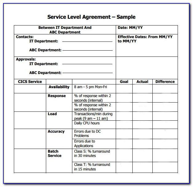 Managed Service Sla Template
