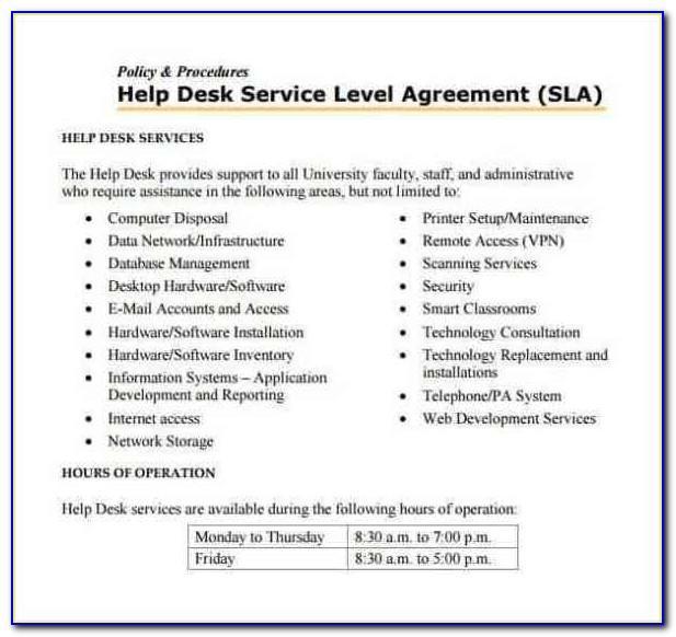 Managed Services Sla Example