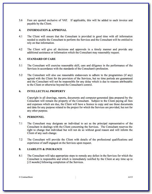 Management Consultant Contract Template Uk