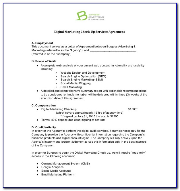 Marketing Services Agreement Template Free