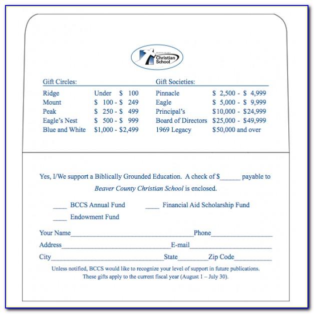 Memorial Donation Envelope Template
