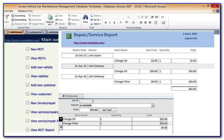 Microsoft Access Construction Project Management Template