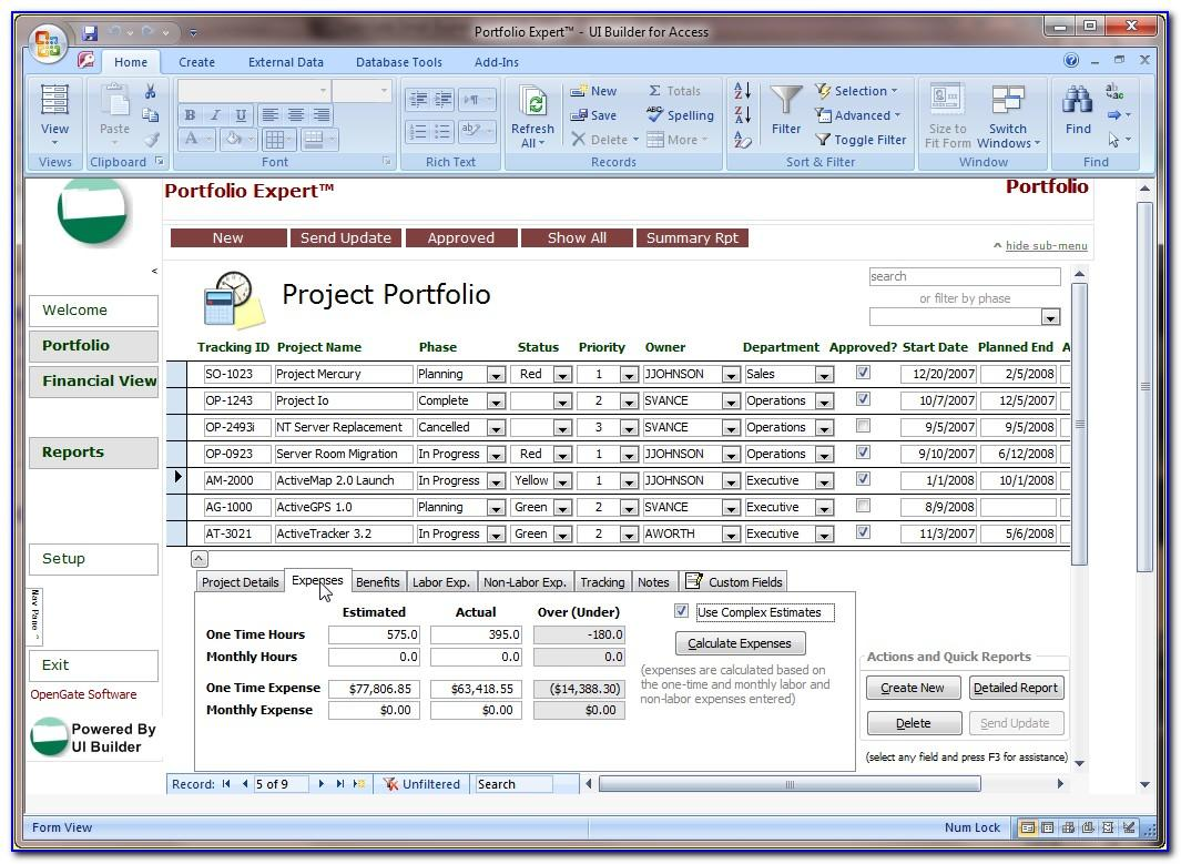 Microsoft Access Project Management Template Free