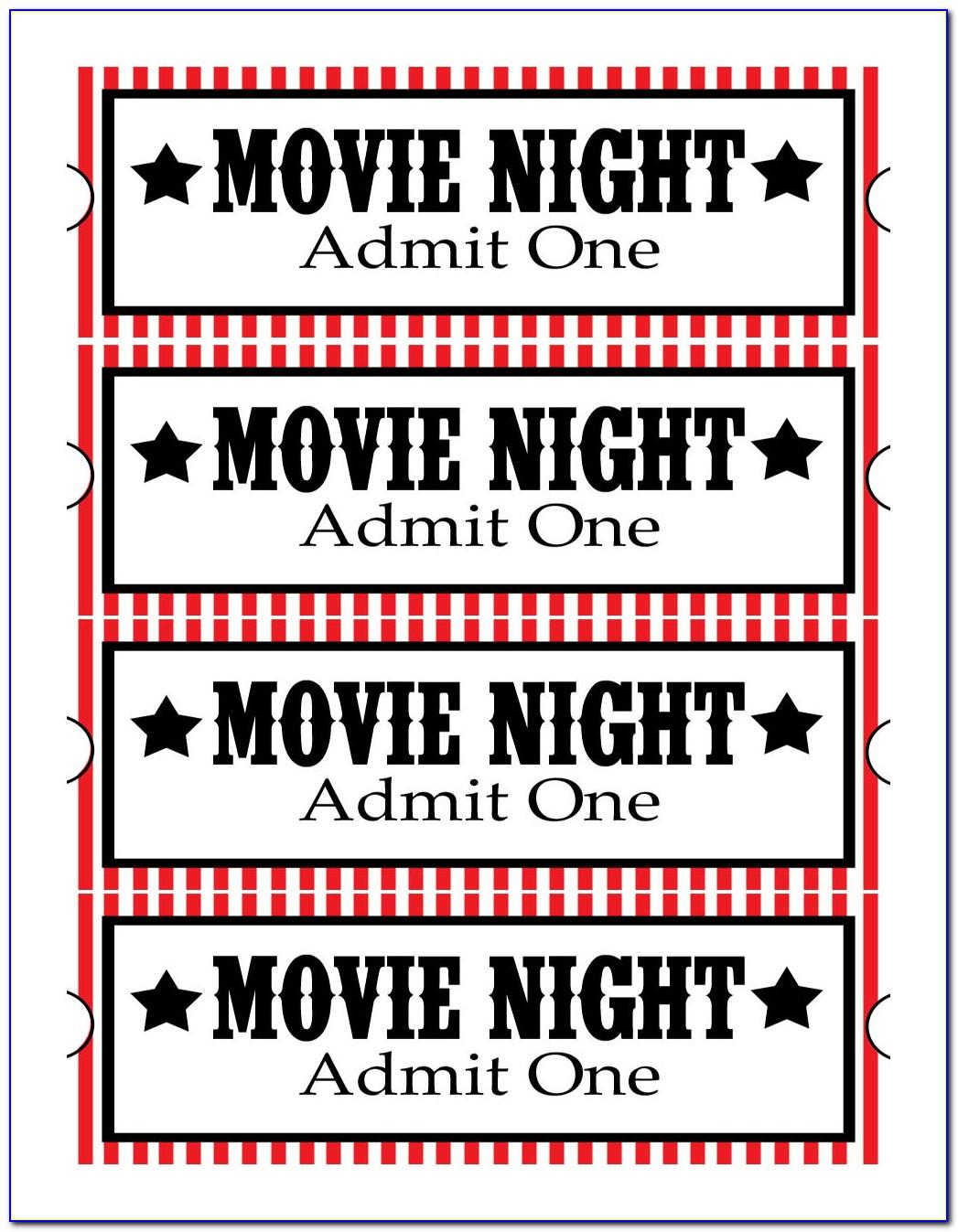 Movie Night Ticket Template