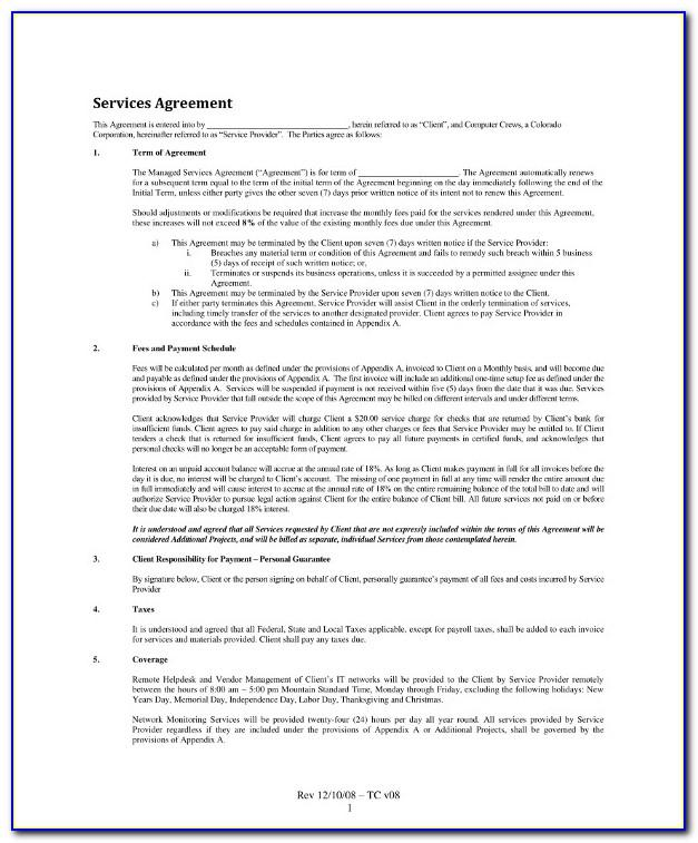 Msp Support Contract Template