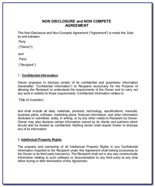 Nda Non Compete Agreement Template
