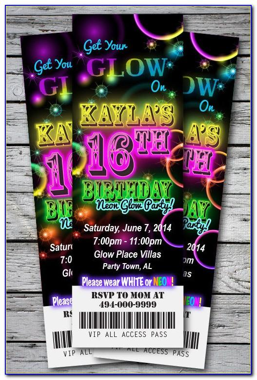 Neon Birthday Party Invitation Template